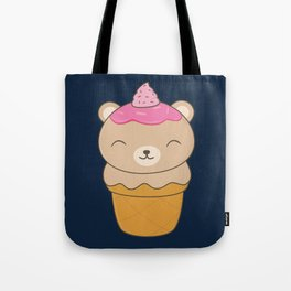 Kawaii Bear Ice Cream Cone Tote Bag