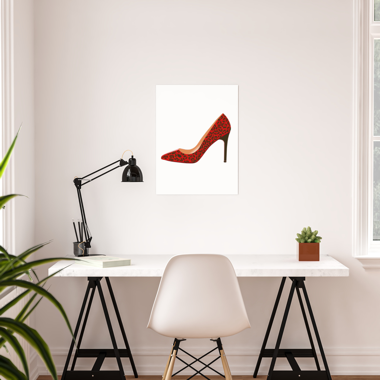 eb1cf984450 Red Leopard Print High Heel Shoe Poster by davidasmithart
