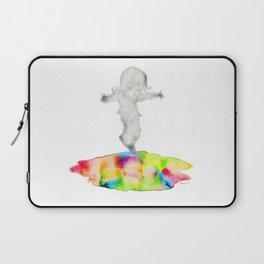 Girl jumping rainbow puddle Laptop Sleeve