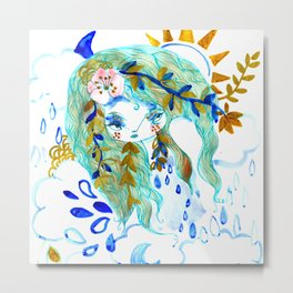 Bohemian night lady blue spirit Metal Print