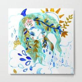 Bohemian night lady blue spirit Metal Print