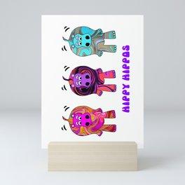 Hippy Hippie Hippos Mini Art Print
