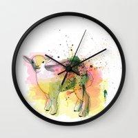 sheep Wall Clocks featuring Sheep by Barbara_Baumann_Illustration
