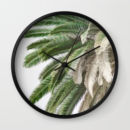 Nature photography tropical vintage palm leaf I Wall Clock