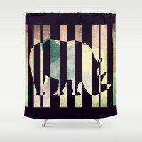 rhino Shower Curtains featuring Rhino by Yasmina Baggili