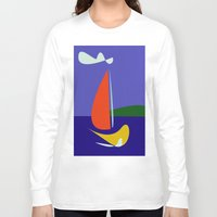 sailboat Long Sleeve T-shirts featuring cute sailboat by laika in cosmos