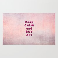 keep calm Area & Throw Rugs featuring Keep Calm by Tina Vaughn