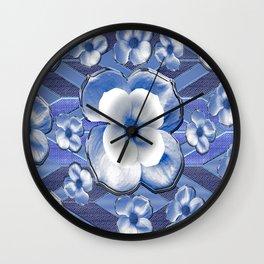 Blue Dogwood Flowers Wall Clock