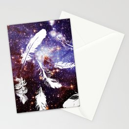 Galaxy blue purple white feathers Stationery Cards