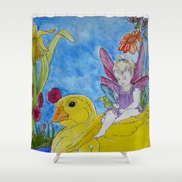 Fairy Girl and Yellow Duck Shower Curtain