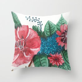 Ruby Botanical Floral Watercolor Throw Pillow