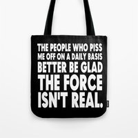 jedi Tote Bags featuring The Force  |  Jedi Humor by Silvio Ledbetter