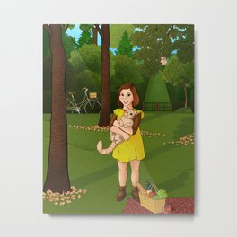 Girl with a cat Metal Print