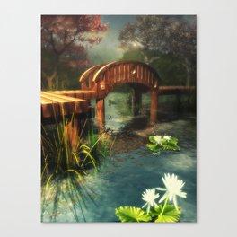 Wooden bridge over lotus pond Canvas Print