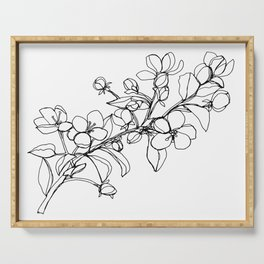 Apple Blossoms, A Continuous Line Drawing Serving Tray