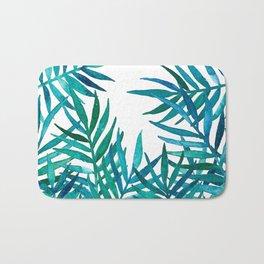 Watercolor Palm Leaves on White Bath Mat