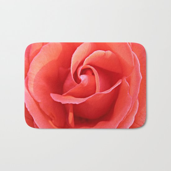 Salmon Floral Rose Abstract Bath Mat
