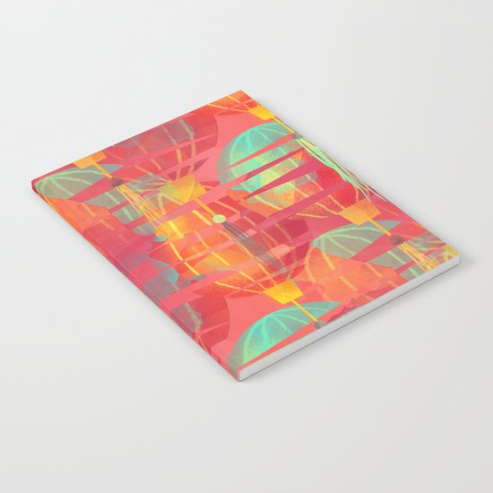 Watercolor Paper Lanterns on Pink Notebook