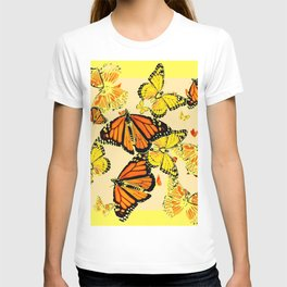 SOFT YELLOW & ORANGE MONARCH BUTTERFLIES MELANGE T-shirt