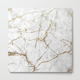 Gold Glitter and White Marble Metal Print