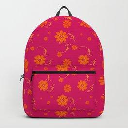 Orange Daisy Flowers on Hot Pink Background Backpack