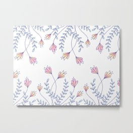 Pastel flowers and leaves pattern Metal Print