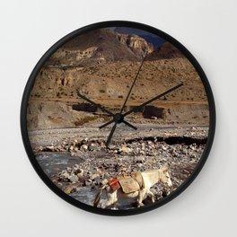 Horse Crossing River near Jomsom Wall Clock