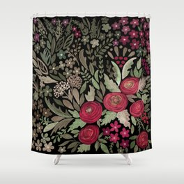 Watercolor . Night garden . Shower Curtain
