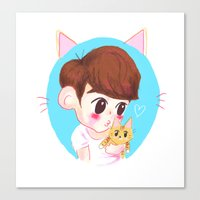 shinee Canvas Prints featuring SHINee cat by sophillustration