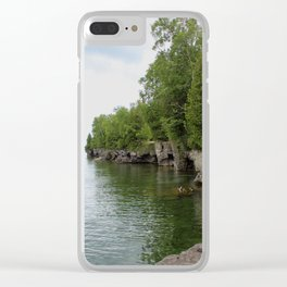 Cave Point County Park Clear iPhone Case