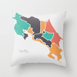Costa Rica Map with states and modern round shapes Throw Pillow