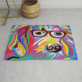 Smart Retriever Hipster with Glasses Rug