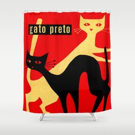 Black and White Retro Cats Shower Curtain