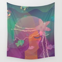 little mermaid Wall Tapestries featuring Mermaid by Graphic Tabby