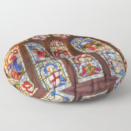 Stained Glass Abbey Window Floor Pillow