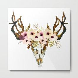 Exotic Tropical Floral Leaves Skull Antlers Metal Print