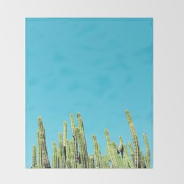 Desert Cactus Reaching for the Blue Sky Throw Blanket