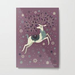 Prancing Reindeer Metal Print