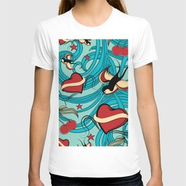 Cherry, Hearts, bird and stars on Rockabilly Tattoos Collection - Vintage blue T-shirt