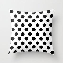 Black and White Medium Polka Dots Throw Pillow