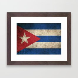 Old and Worn Distressed Vintage Flag of Cuba Framed Art Print