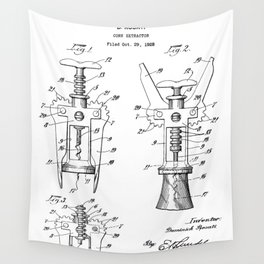 Cork Screw Patent - Wine Art - Black And White Wall Tapestry