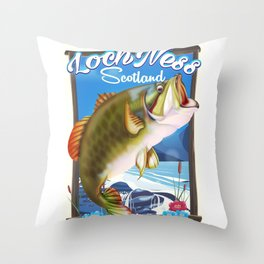 Loch Ness Scotland Fishing travel poster Throw Pillow