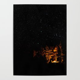 Campfire on a Starry Night Poster