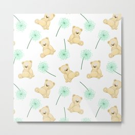 Pattern with cute bears and dandelions. Children's cards and textiles Metal Print