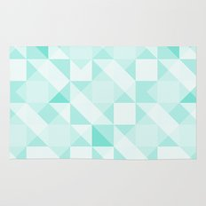 All Turquoise Triangle Pattern Rug
