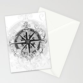 Black and White Scrolling Compass Rose Stationery Cards