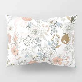 Abstract modern coral white pastel rustic floral Pillow Sham