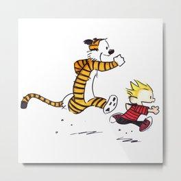 Calvin And Hobbes runner Metal Print
