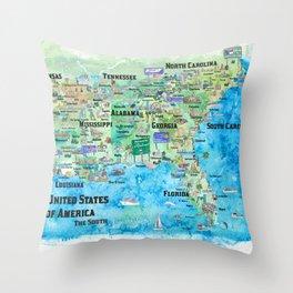 USA Southern States Travel Poster Map Florida Louisiana Mississippi Arkansas Carolinas Georgia Throw Pillow